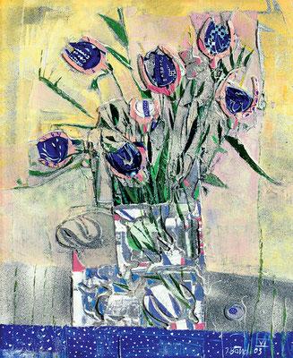 Blumenboot, 2003, Mischtechnik auf Leinwand, mit plastischen Elementen, 65 x 45 cm