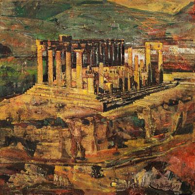 Hera-Tempel in Agrigent, 2013, Mischtechnik auf Leinwand, 50 x 50 cm