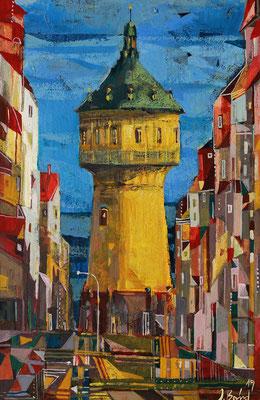 Wasserturm, Radierung, koloriert, 30 x 20 cm