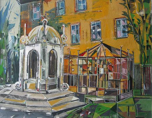 Merseburg, Rabenkäfig, Radierung, koloriert, 20 x 25 cm