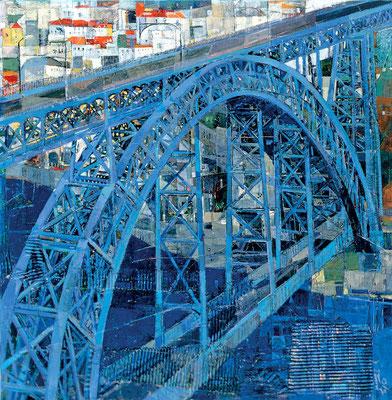 Brücke in Porto, 2003, Mischtechnik auf Leinwand, 100 x 100 cm