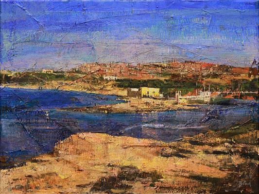 Bucht bei Agrigent, 2012, Mischtechnik auf Leinwand, 30 x 40 cm