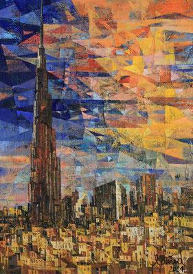 Burj Khalifa, 2021, Mischtechnik auf Leinwand, 100 x 70 cm
