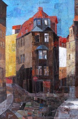 Halle, Marthastraße, 2006, Mischtechnik auf Leinwand, 90 x 50 cm
