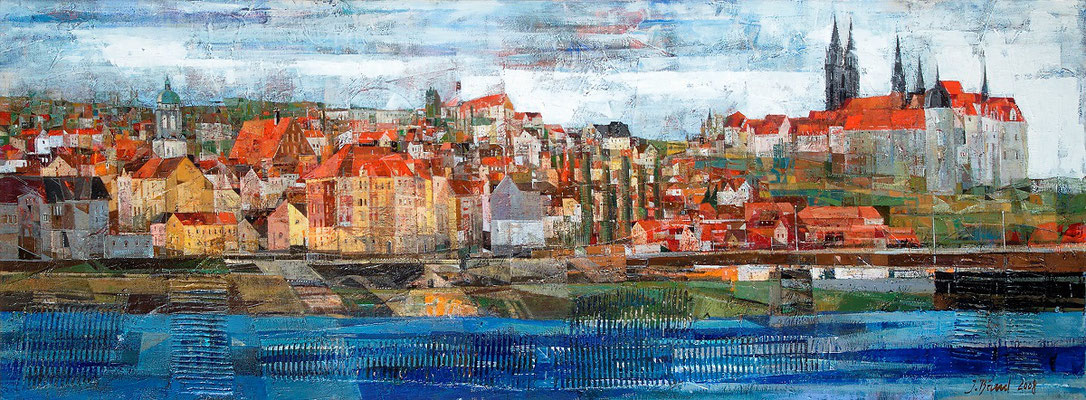 Meißen, Panorama, 2008, Mischtechnik auf Leinwand, 60 x 170 cm