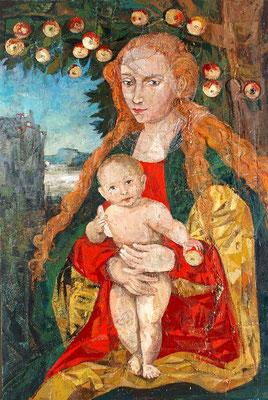 Madonna mit dem Kinde (nach L. Cranach), 2003, Leinwandcollage auf Leinwand, Acryl, Öl, Mischtechnik, 120 x 80 cm