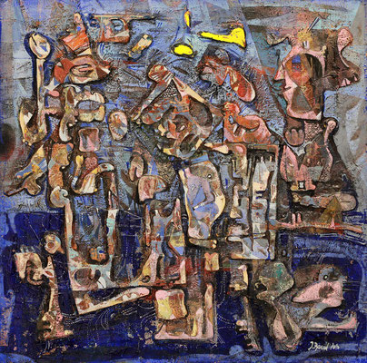 Gespräch, 2010, Plastische Arbeit auf Holz, 50 x 50 cm