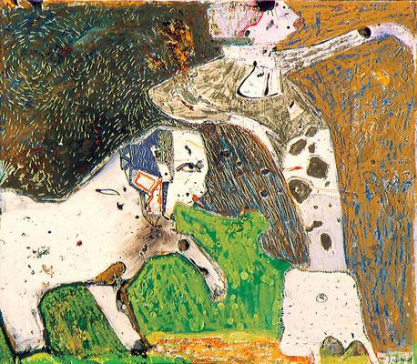 Dame und krummer Hund, 1990, Ölkreide, Lack auf Papier, 30 x 40 cm