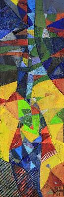 Abstraktion, 2021, Mischtechnik auf Hartfaser, 58 x 20 cm
