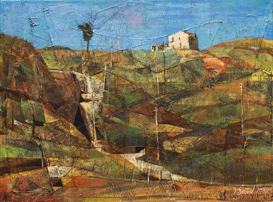 Landschaft bei Corleone, 2012, Mischtechnik auf Leinwand, 30 x 40 cm