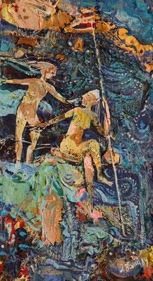 Quellnymphen, 2019, Mischtechnik auf Holz, 28 x 16 cm