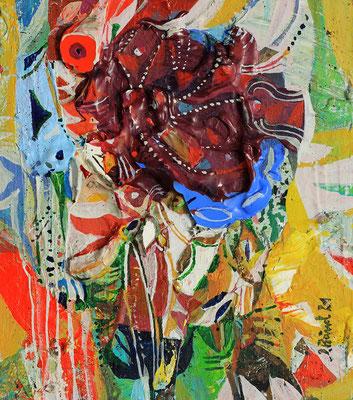 Die rote Blume, 2021, Mischtechnik auf Holz, 14 x 12 cm