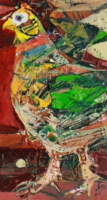 Die Henne, 2017, Mischtechnik auf Holz, 22 x 12 cm