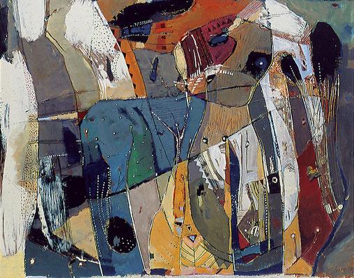 Bunte Kuh, 1994, Lack, Kreide auf Hartfaser, 40 x 50 cm