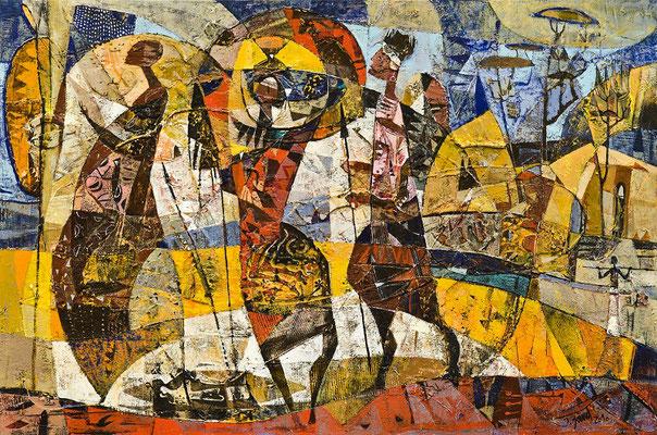 Afrika, 2010, Plastische Arbeit, Mischtechnik auf Leinwand, 80 x 120 cm