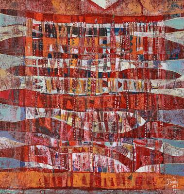 Abendrot, 2017, Mischtechnik auf Holz, 41 x 39 cm