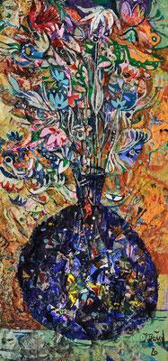 Blaue Glasvase, 2020, Mischtechnik auf Holz, 30 x 14 cm