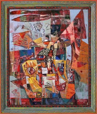 Das Turnier, 2009, Plastische Arbeit, Mischtechnik auf Leinwand, 70 x 60 cm