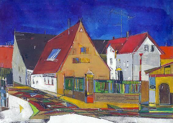 Alte Mühle, Radierung, koloriert, 23 x 30 cm