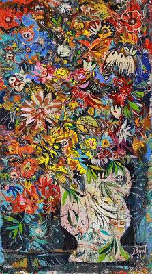 Geneigte Vase, 2020, Mischtechnik auf Holz, 40 x 22 cm