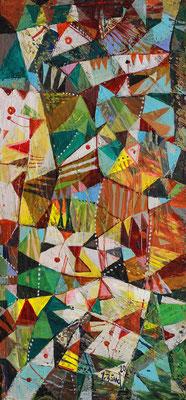 Frühlingsmuster, 2020, Mischtechnik auf Holz, 30 x 14 cm