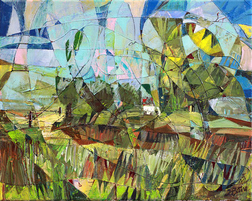 Landschaft mit Weiden, 2011, Mischtechnik auf Leinwand, 40 x 50 cm