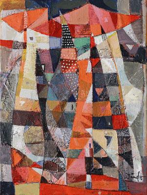 Die rote Pagode, 2015, Mischtechnik auf Leinwand, 40 x 30 cm