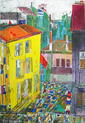 Ausblick, Radierung, koloriert, 42 x 30 cm