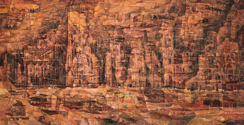 Königsgräber in Petra, 2021, Mischtechnik auf Leinwand, 80 x 155 cm
