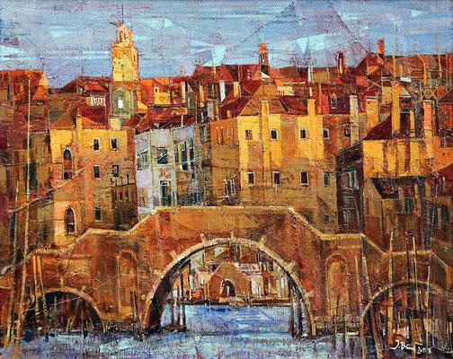 Venedig, Brücke, 2011, Mischtechnik auf Hartfaser, 45 x 57 cm