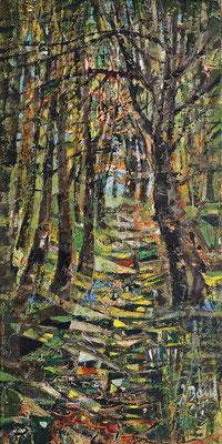 Waldweg, 2017, Mischtechnik auf Hartfaser, 30 x 15 cm