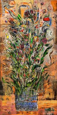 Blumenstrauß, 2008, Plastische Arbeit, Mischtechnik auf Leinwand, 200 x 100 cm