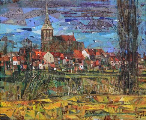 Kirche in Lassan, 2021, Mischtechnik auf Leinwand, 38 x 46 cm