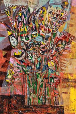 Blumen, 2016, Mischtechnik auf Leinwand, 60 x 40 cm