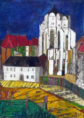 Dom, Radierung, koloriert, 30 x 24 cm