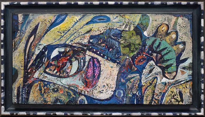 Der blaue Hund, 2018, Mischtechnik auf Holz, Rahmen: 20 x 35 cm, Motiv: 15 x 30 cm