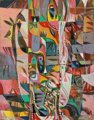 Das Vogelnest, 2017, Mischtechnik auf Papier, 27 x 21 cm