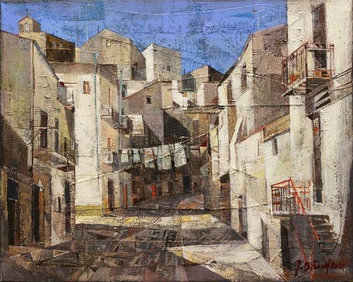 Mittagsruhe in Caltabellotta, 2012, Mischtechnik auf Leinwand, 40 x 50 cm