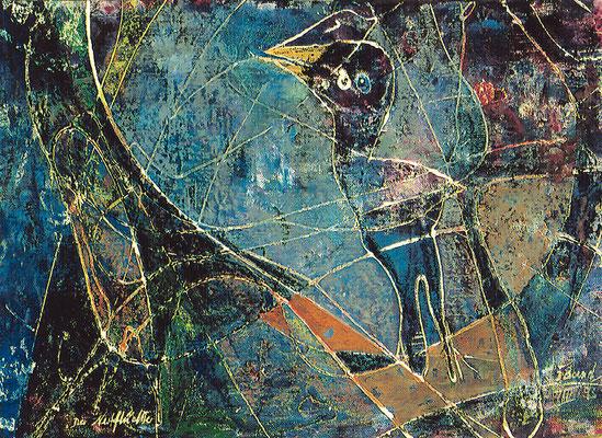 Nestflüchter, 1993, Mischtechnik auf Leinwand, 50 x 70 cm