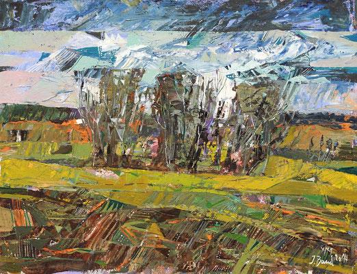 Baumgruppe im Feld, 2014, Mischtechnik auf Hartfaser, 30 x 39 cm