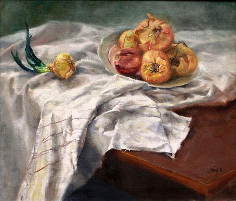 Stillleben mit Zwiebeln, 1984, Öl auf Leinwand, 60 x 70 cm
