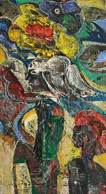 Töchter des Windes, 2017, Mischtechnik auf Holz, 28 x 16 cm