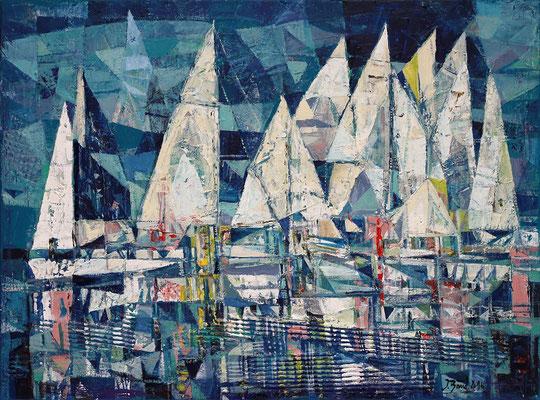 Segelboote, 2016, Mischtechnik auf Leinwand, 60 x 80 cm