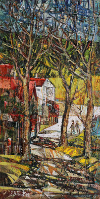 Waldweg, 2019, Mischtechnik auf Hartfaser, 32 x 16 cm