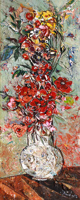 Rote Blumen, 2013, Mischtechnik auf Holz, 40 x 16 cm