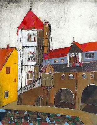 Moritzburg, Radierung, koloriert, 27 x 21 cm