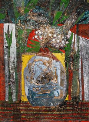 Asiatischer Strauß, 2006, Mischtechnik auf Leinwand, 80 x 60 cm