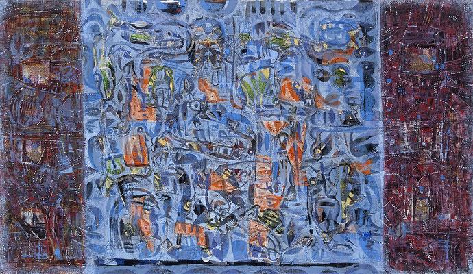 Perlentaucher, 2009, Mischtechnik auf Leinwand, 70 x 120 cm