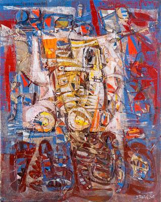 Der Baggerfahrer, 2008, Plastische Arbeit, Öl, Acryl auf Leinwand, 50 x 40 cm