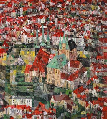Erfurt, 2019, Mischtechnik auf Leinwand, 110 x 100 cm